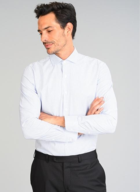People By Fabrika Çizgili Gömlek Beyaz